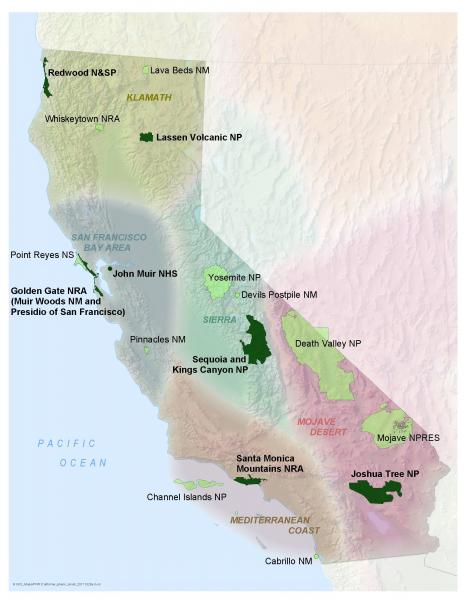 The National Park Service units that are participating in the California Phenology Project. Pilot park units are shown in dark green, and other participating parks are shown in sage green.